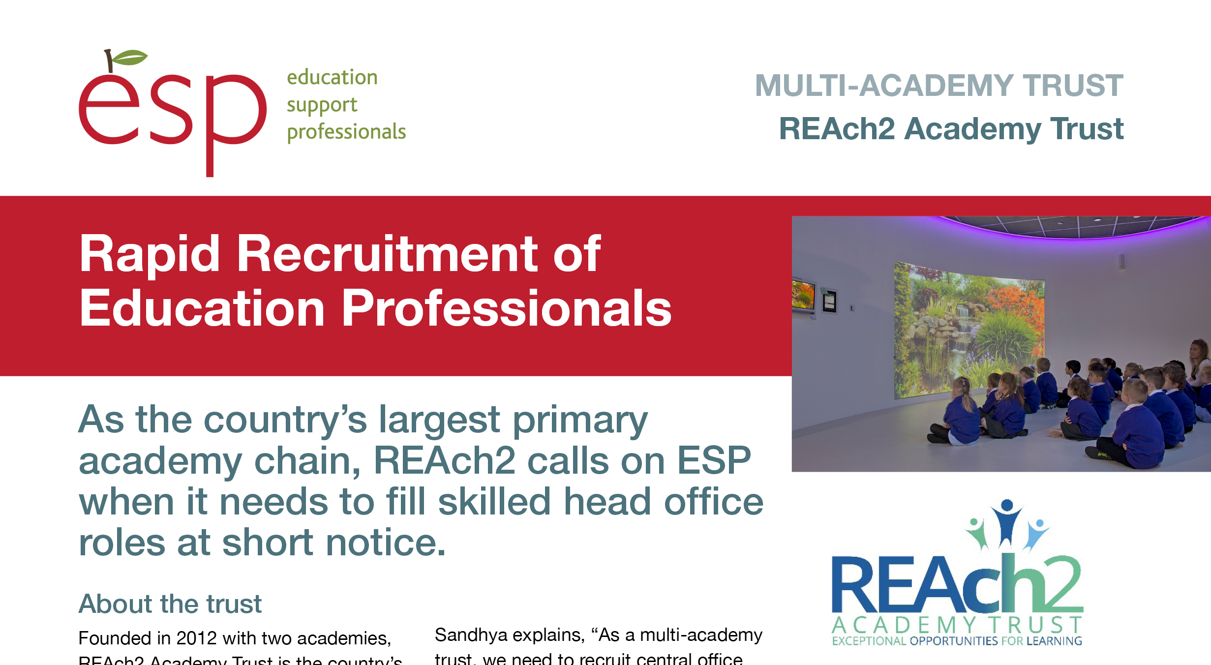 Reach2 Academy Trust >> How Esp Supports Recruitment At England S Largest Primary Only Trust